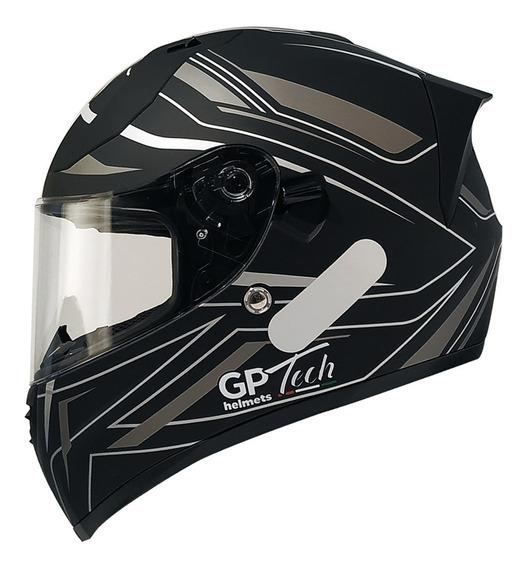 Capacete Gp Tech V128 Ride Sv Viseira Solar Fosco Preto-cinza