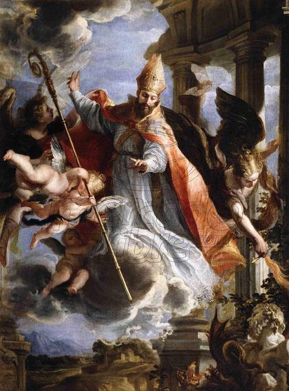 Lienzo Tela Canvas Arte Sacro Triunfo De San Agustín 80x109