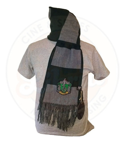 Bufanda De Slytherin Original Rayada C/escudo Harry Potter
