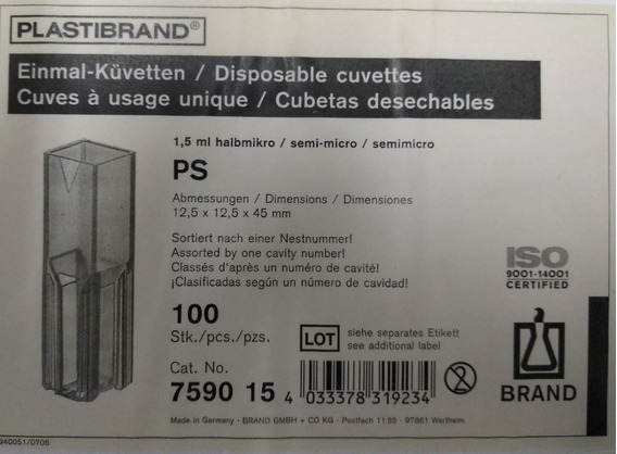 Celda Cubeta Para Espectrofotometro 100 Piezas De Plastico