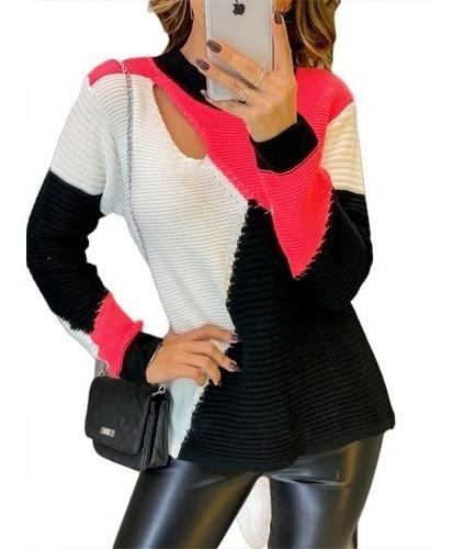 Blusa Tricot Feminina Manga Longa Inverno Frio Blogueira