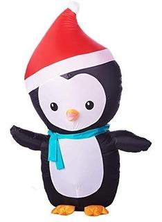 Inflable Decorativo Navidad Pingüino 1.2m Jardín Luz