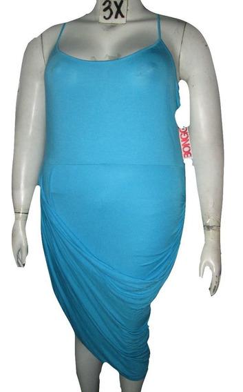 Vestido Azul Aqua Asimetrico De Verano Talla 3x (40/42 Mex ) Bongo