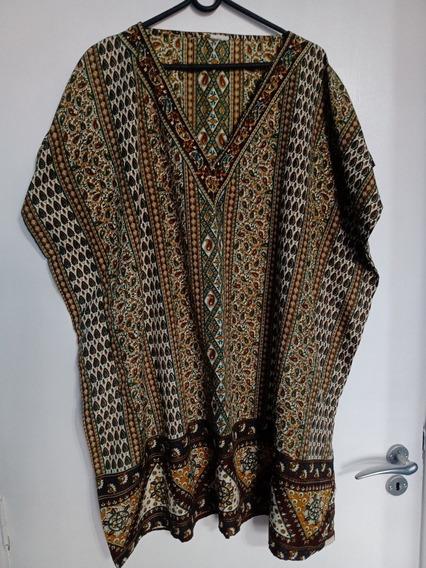 Vestido Indiano Bata Tam G Marrom Verde Árabe Lindo