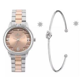 Relógio Allora Feminino Al2035fkt/k5m + Pulseira E Brincos