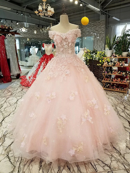Elegante Vestido Rosa Xv Años Bordado Flores Barato