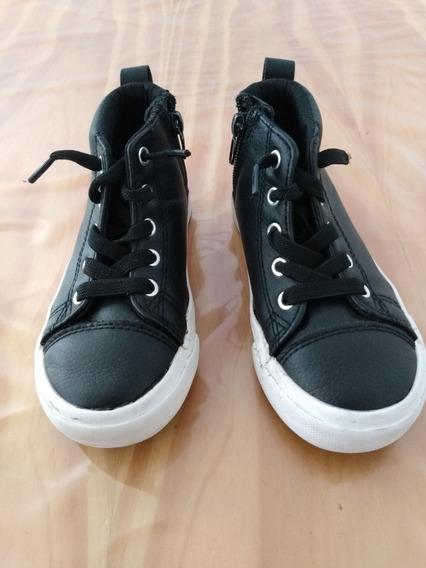 Zapatillas Negras Niños Nro 26 Con Cordones Elasticos