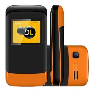 Telefone Básico De Flip Idosos Dl Yc-230 Laranja Conexão 2g Dual Chip Câmera Rádio Bateria De Longa Duração Em Português