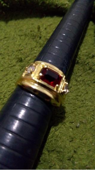 Anel Formatura Pedra Vermelha Banhado A Ouro18k Com Garantia