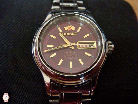 Reloj Orient Para Dama Automático Dial Guinda