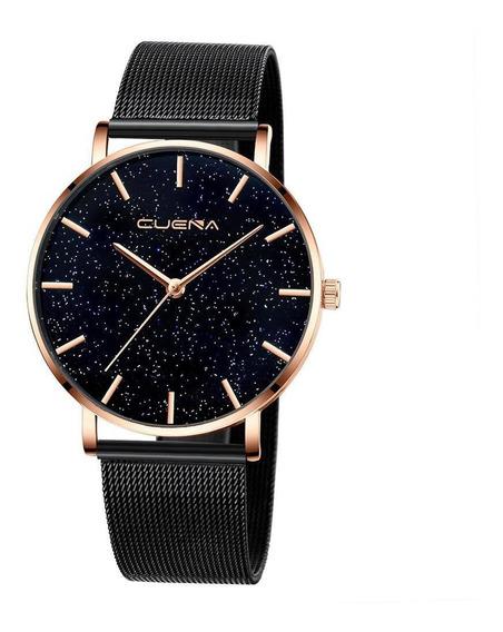 Relógio Feminino Preto Rosê Pulseira Aço Luxo Elegante