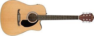 Fender Fa-125ce Dreadnought Guitarra Acústica, Acabado Natur