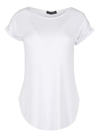 Camiseta Long Line Feminina Barra Arredondada Lisa Basica