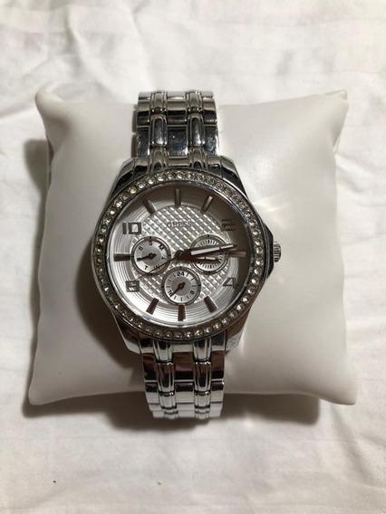 Relógio Original Da Guess Prateado Com Pedras Cravejadas