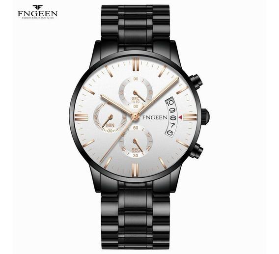 Relógio Luxo Masculino Pulso Social Pulseira Aço Inox