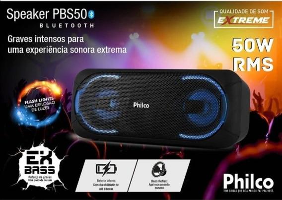 Caixa De Som Portátil Bluetooth Philco Pbs50 50w Rms
