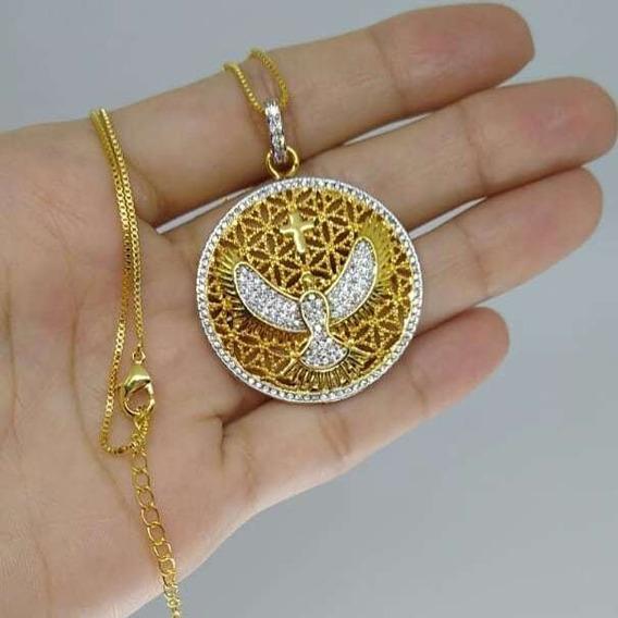 Colar Mandala Espírito Santo Ouro 18k C/ Detalhes E Zircônia