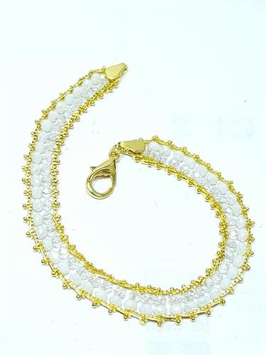 Imagen 1 de 8 de Pulsera De Obatala En Chapa De Oro Y Cristales Dobles