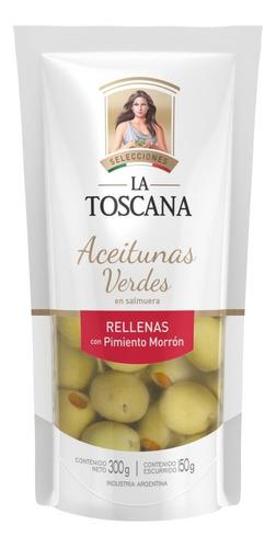 Aceitunas Verdes Rellenas Pimiento Morron La Toscana 300 Grs
