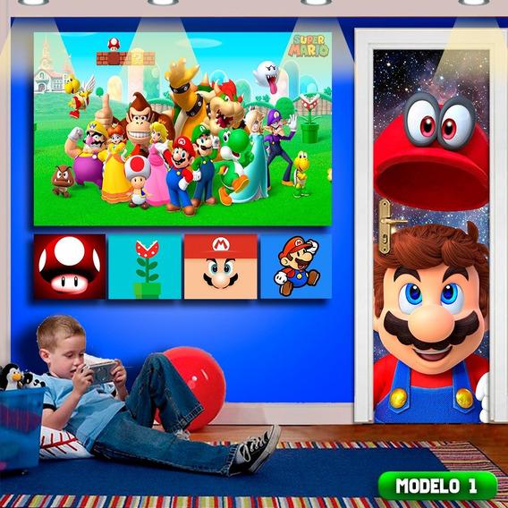 Kit Gamer Papel De Parede 6pçs Super Mario Quarto + Frete
