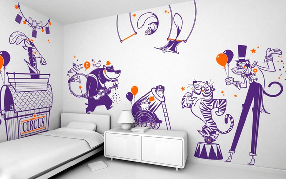 Vinilo Infantil Kit Completo 8u Circo Payaso Oso Tigre