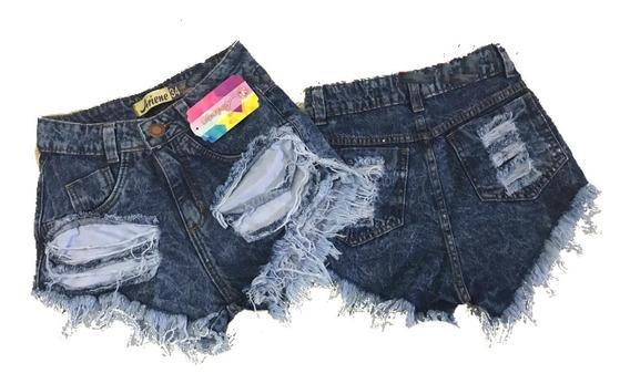 Kit 3 Shorts Jeans Hot Feminino Cintura Alta Desfiado Anitta