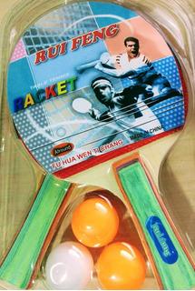 Paleta Ping Pong 2 Unidades + 3 Pelotas