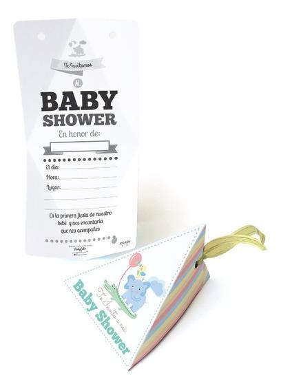10 Invitaciones Con Listón Para Baby Shower Elefantito