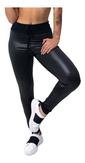 Calça Legging Cintura Alta Couro Fake Suplex Brilhosa