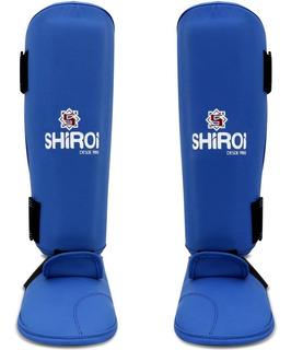 Caneleira Karate Vermelha Ou Azul C/ Protetor Pe Shiroi