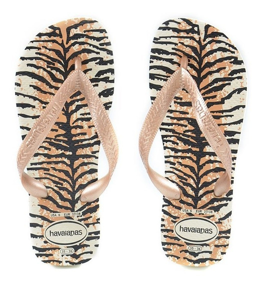 Chinelo Havaianas Top Animals Bege Palha Rose - 4132920