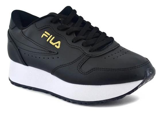 Zapatillas Fila Lifestyle Mujer Euro Jogger Negro-dorado Ras