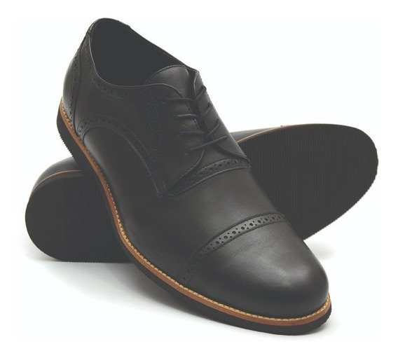 Sapato Masculino Tamanho Especial Oxford Couro Preto 6815/2