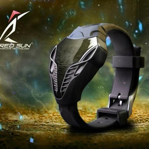 Relógio Bracelete Digital Preto De Led Em Silicone Estiloso