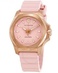 Relógio Victorinox Inox Feminino Diver Rosa/dourado Borracha