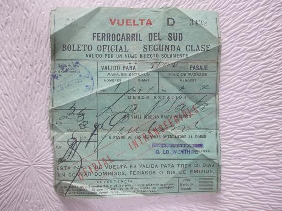 7064- Boleto Oficial Ferrocarril Sud Año 1937-
