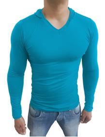 03 Camisetas Masculina Slim Fit Básica Capuz Gola V Ml