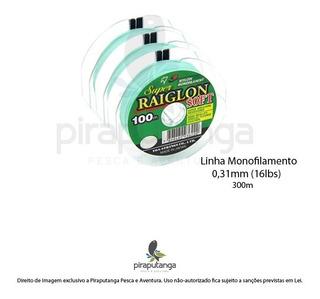 Linha Monofilamento Super Raiglon Soft 0,31mm 16lbs 300m