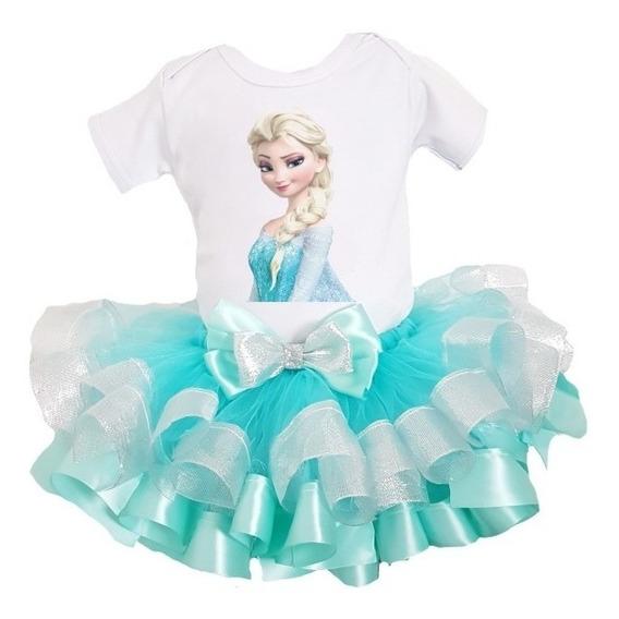 Tutú Ribbon Liston Elsa Frozen Pañalero 0 A 2 Años