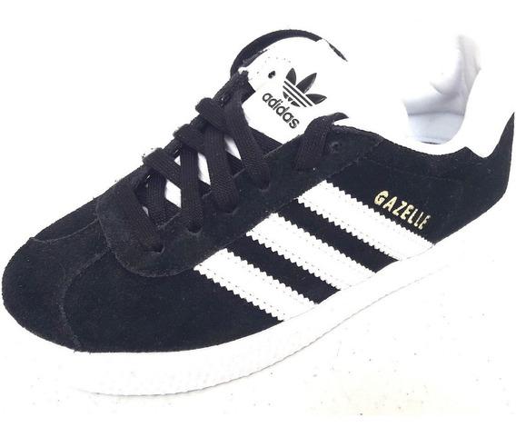 Original Kids Tenis adidas Gazelle Originals Retro Gamuza Negro Con Blanco Tenisshop