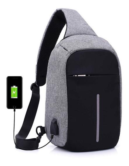 Mochila Bolso Hombro Con Usb Antirrobo Tablet Camara + Envio