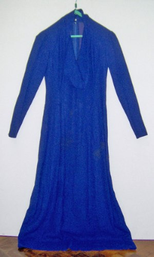 Vestido Fiesta Largo Azul M/largas Modelo Exclusivo C/buche