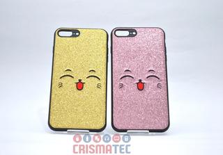Capinha Capa Celular Apple iPhone 7 Plus Gatinho Gliter