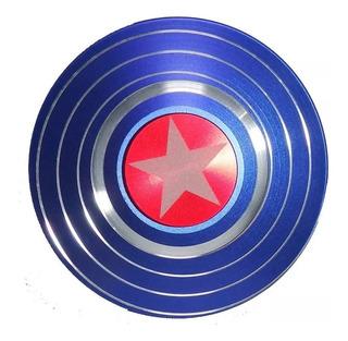 Spinner Capitan America Escudo Metalico Aluminio Dorada Azul