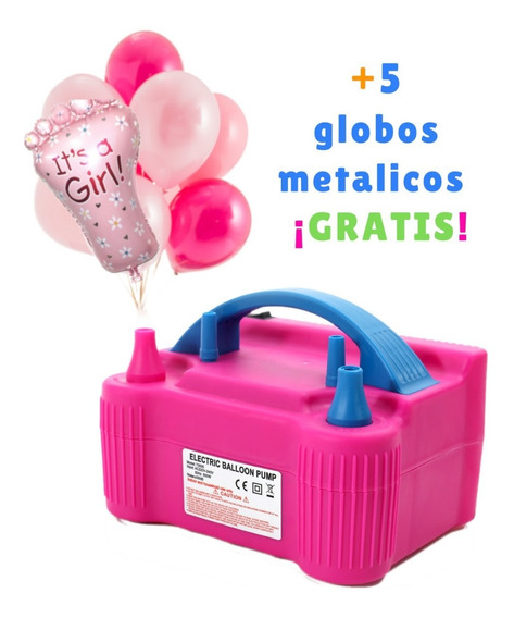 Bomba Eléctrica Inflar +5 Globos Baby Shower Niña Gratis