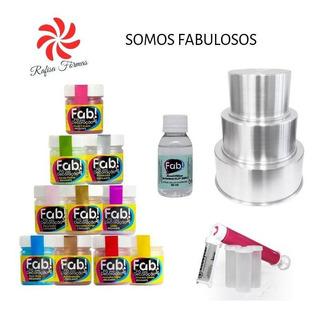 Kit Somos Fab:forma Redonda C/3 +10 Pó Fab+alcool Etílico 50