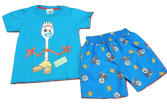 Conjunto Remeras Mas Short Playero Forky Toy Story