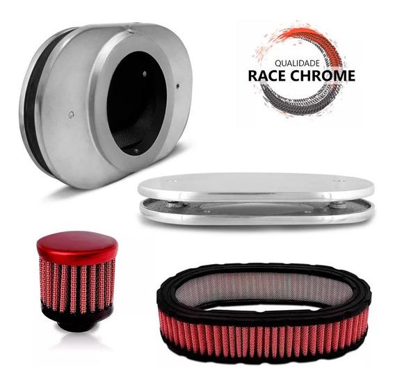 Base Carburador 2e/3e + Filtro Ar + Respiro Vermelho