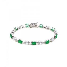 Pulseira Feminina Pedra Verde Esmeralda Prata 925