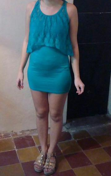 Hermoso Vestido De Modal Al Cuerpo Con Encaje Muy Canchero !